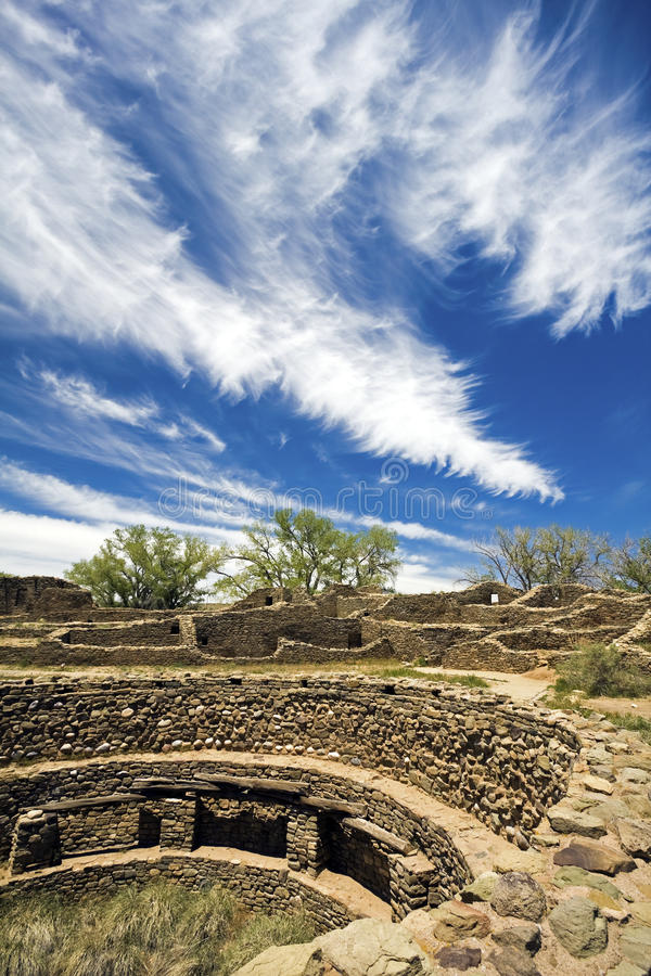 Azteekse Ruïnes in New Mexico royalty-vrije stock afbeeldingen