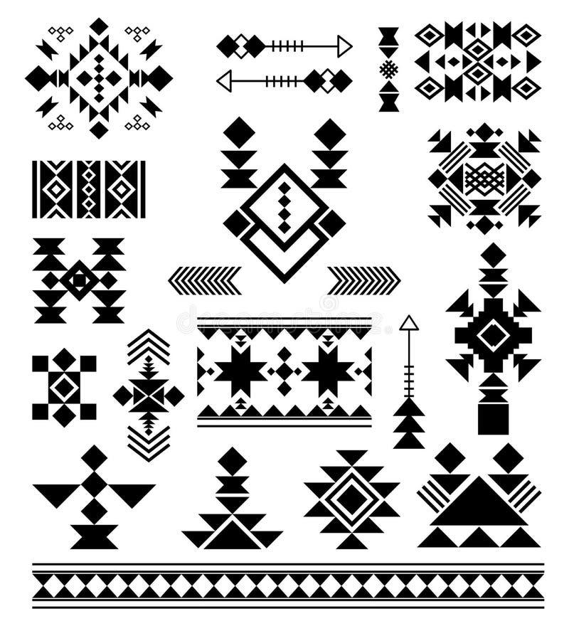 Azteekse stammen etnische elementen royalty-vrije illustratie