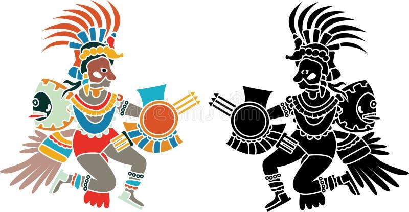Azteekse stencil stock illustratie