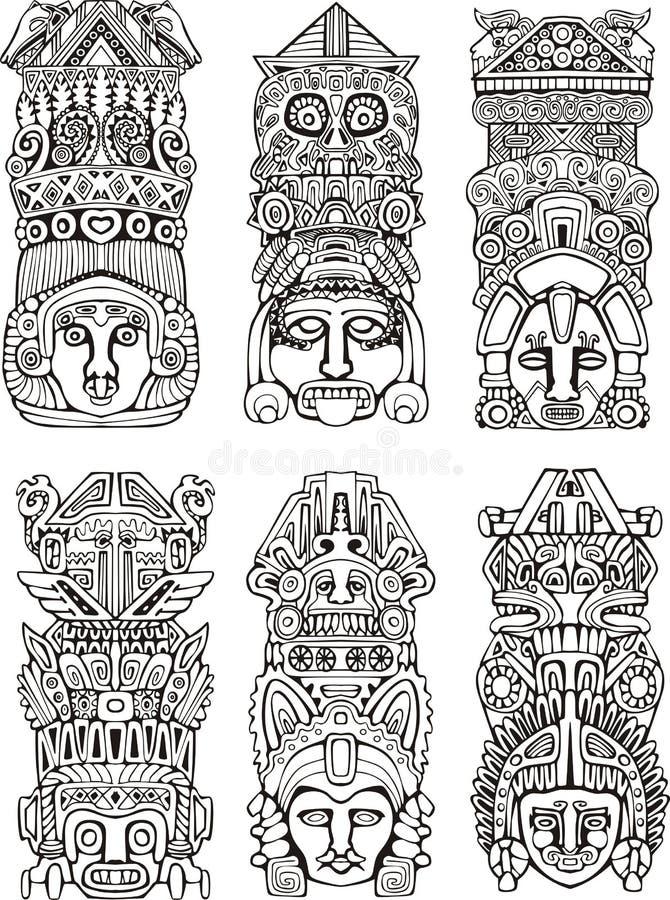 Azteekse totempalen royalty-vrije illustratie