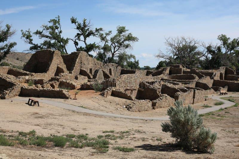 Aztek Rujnuje Krajowego zabytek w Nowym - Mexico, usa zdjęcie royalty free