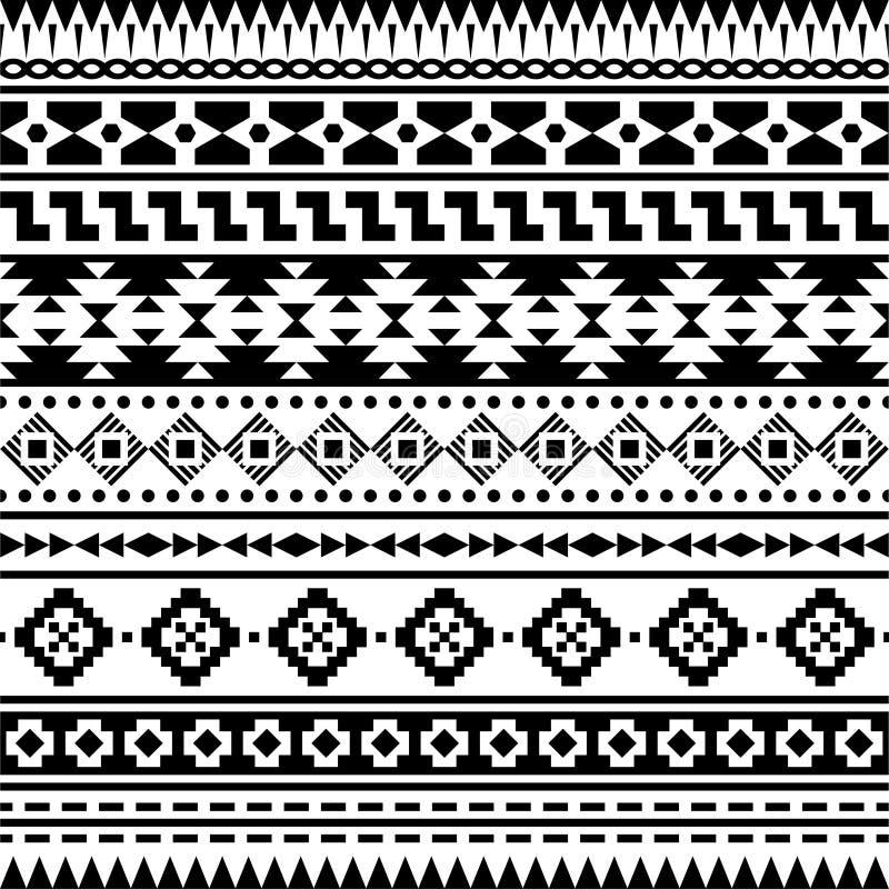 Azteka etniczny Bezszwowy Deseniowy wektor Inka motywu tło w Monochromatycznym kolorze royalty ilustracja