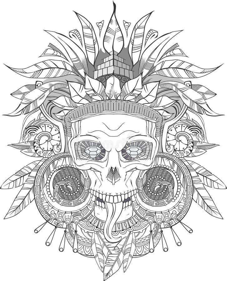 Azteka hindusa czaszka royalty ilustracja