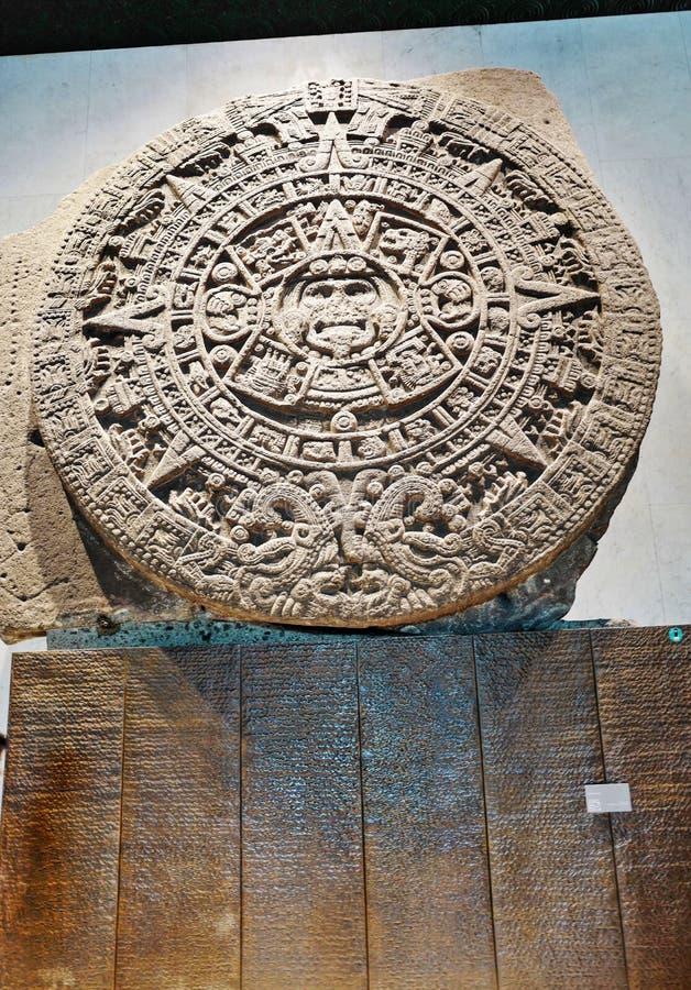 Azteka kalendarza kamień lub słońce kamień obraz royalty free