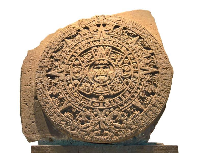 Aztekischer Kalenderstein der Sonne, lokalisiert stockbild