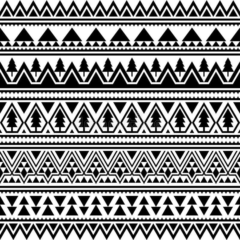Aztekisches ethnisches nahtloses Muster Dreieck-Form-Stammes- Illustrations-Vektor Frohe Weihnacht-Motiv-Entwurf in der Schwarzwe lizenzfreie abbildung