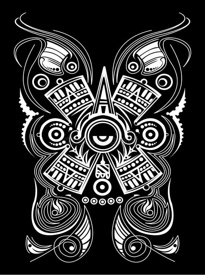 Aztekisches Mayakonzept-tätowieren stilisierte Symbol-Vektorillustration, Stammes- Art stock abbildung