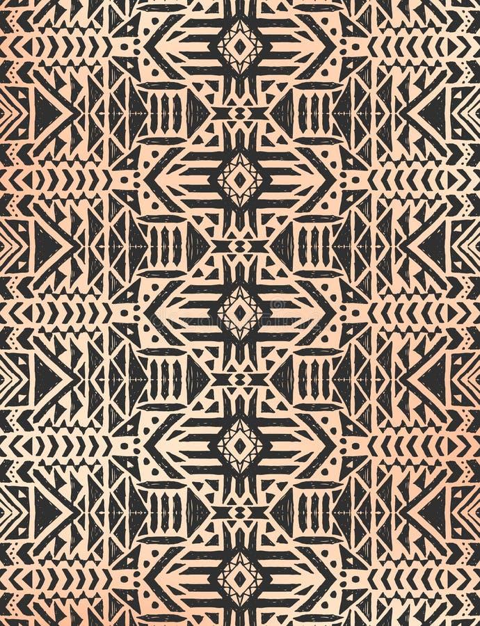 Aztekisches Stammes- mexikanisches nahtloses Muster stock abbildung