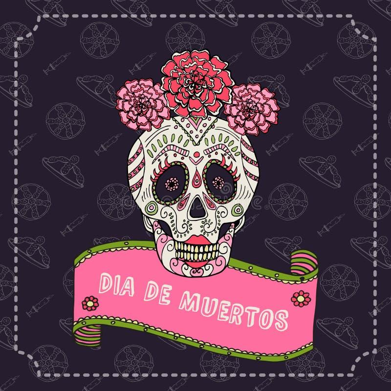 Azucare el ejemplo del vector de Catrina del calavera del cráneo para el día de los muertos libre illustration