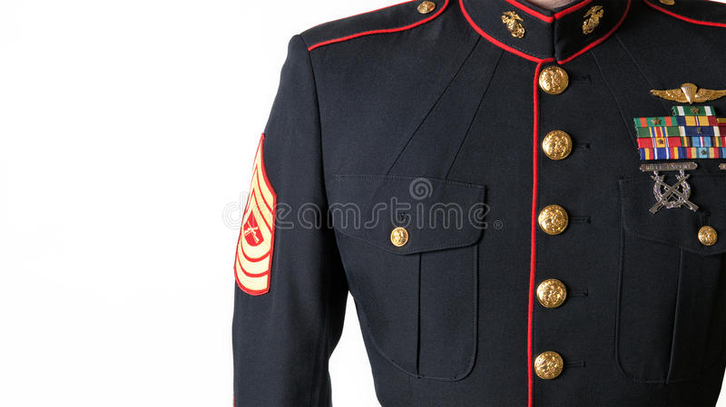 Azuis de vestido do USMC uniformes foto de stock