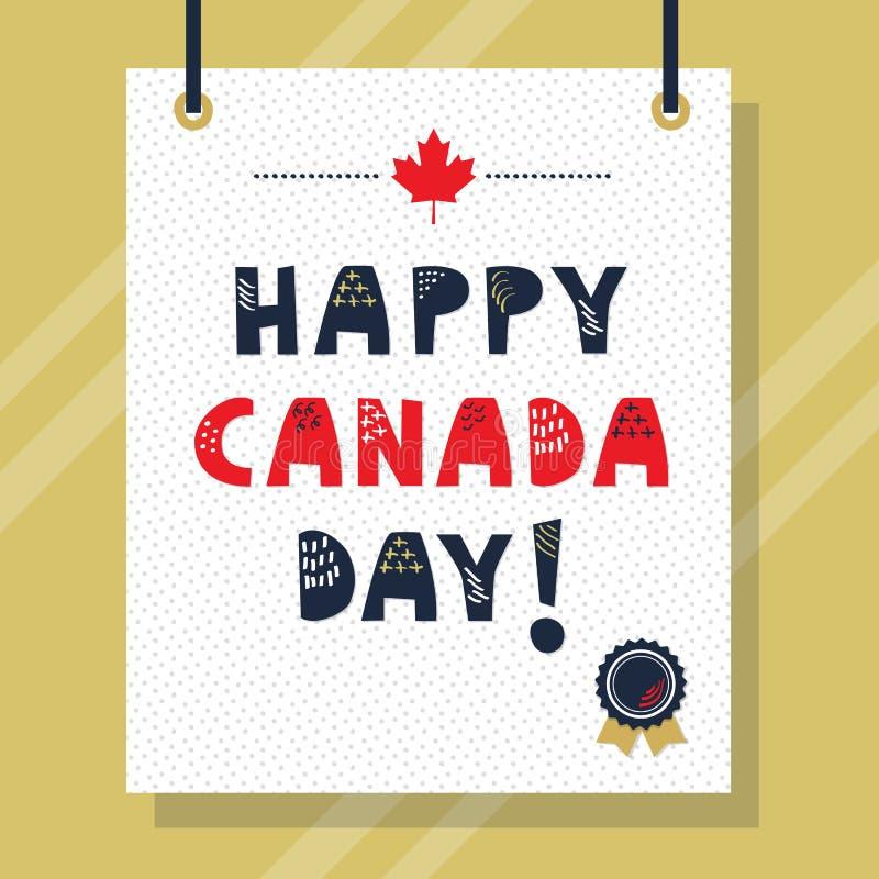 Azuis marinhos bonitos e mensagem feliz vermelha das letras principais do dia de Canadá ilustração do vetor