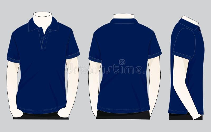 Azuis marinhos Polo Shirt Vecor para o molde ilustração royalty free