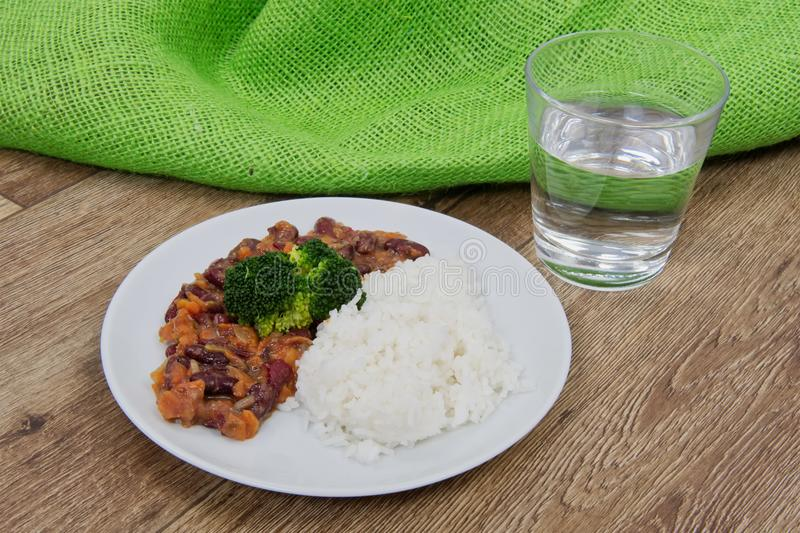 Azuki with vegetable and rice on table royalty free stock photography