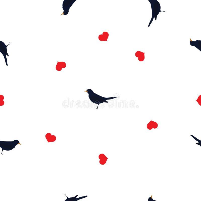 Azulão-americano sem emenda do teste padrão, coração vermelho no branco, vetor eps 10 ilustração stock