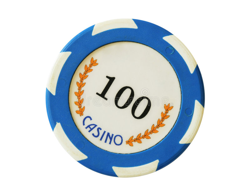 Azul 100 dólares de microplaqueta do casino foto de stock