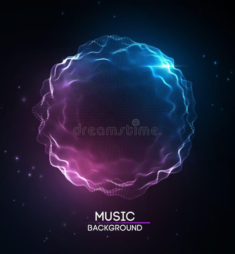 Azul abstracto del fondo de la música El equalizador para la música, mostrando ondas acústicas con música agita, equalizador del  stock de ilustración