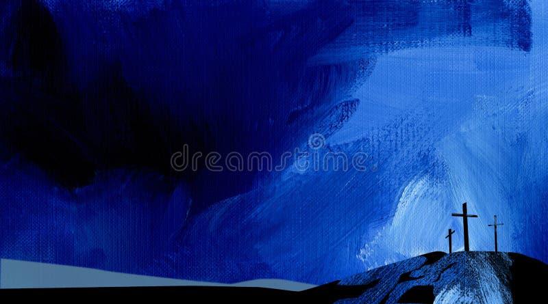 Azul abstracto gráfico de la cruz de Calvary del fondo stock de ilustración