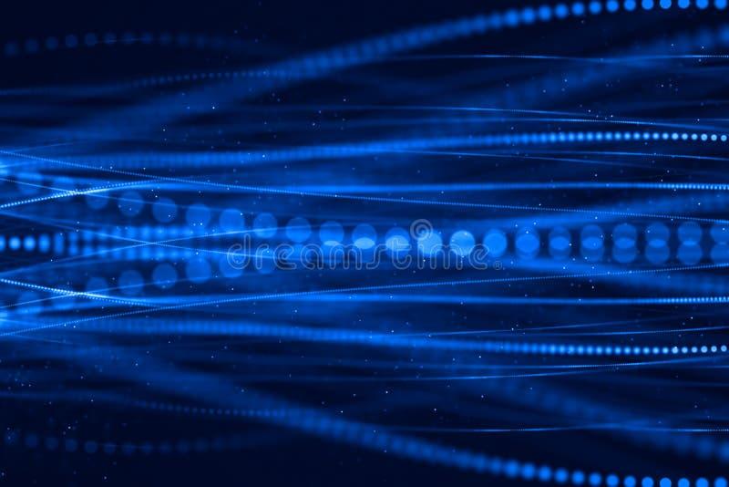 Azul abstracto que crece el manojo brillante de fondo de las fibras ópticas, ilustración del vector