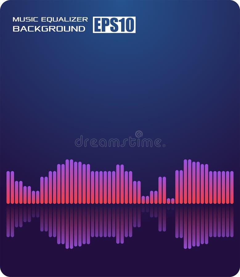 Azul abstrato do fundo da música O equalizador para a música, mostrando ondas sadias com música acena, equalizador do fundo da mú ilustração royalty free