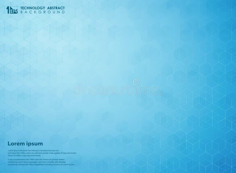 Azul abstrato do inclinação do fundo futurista do teste padrão da tecnologia do pentagon da ciência ilustração stock