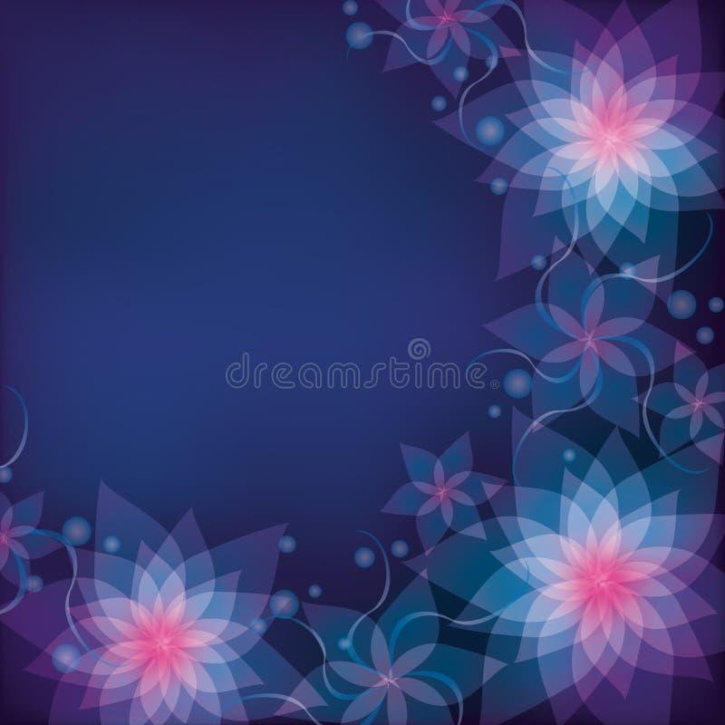 Azul abstrato - fundo floral roxo com fluxo ilustração royalty free