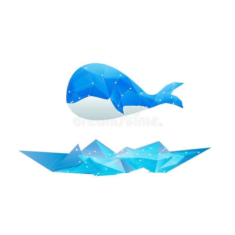 Azul aislado ballena abstracta del diseño del polígono de los vectores stock de ilustración
