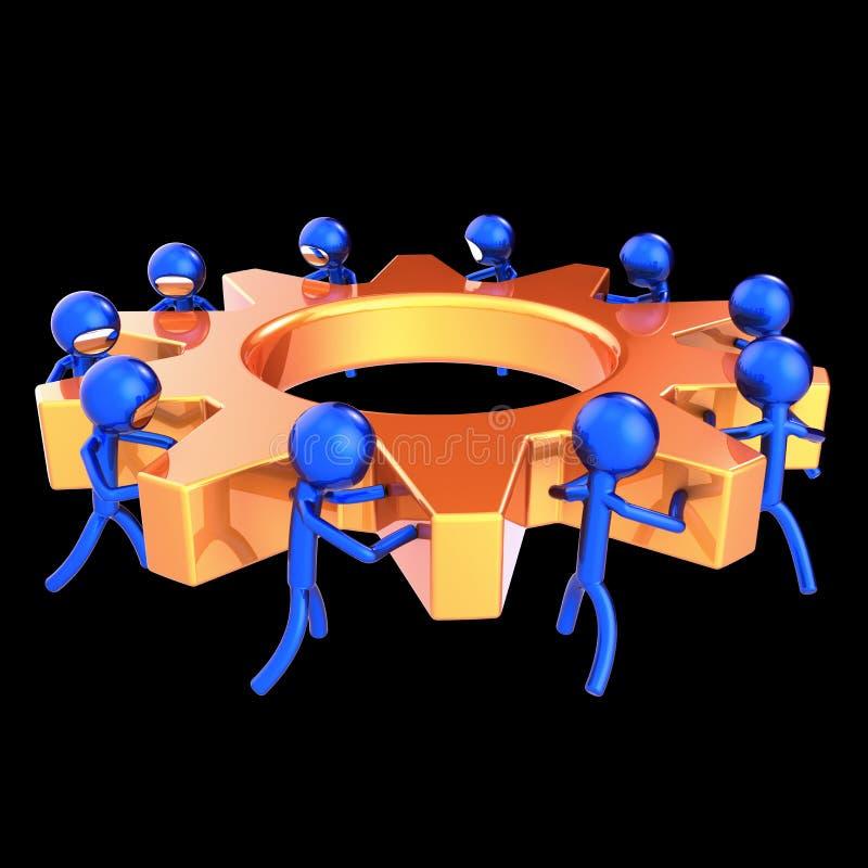 Azul alaranjado dos caráteres dos trabalhos de equipa do processo de negócios da roda de engrenagem ilustração do vetor
