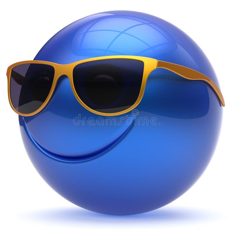 Azul alegre de la historieta del emoticon de la esfera de la bola principal de la cara de la sonrisa libre illustration