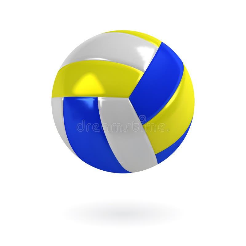 Azul, amarelo realísticos e branco colorem a bola do voleibol Vetor isolado ilustração stock