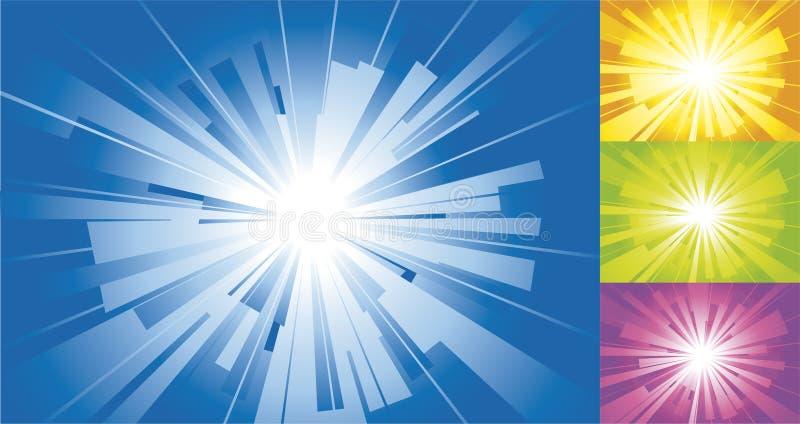 Azul, amarillo, fondo del sol. ilustración del vector
