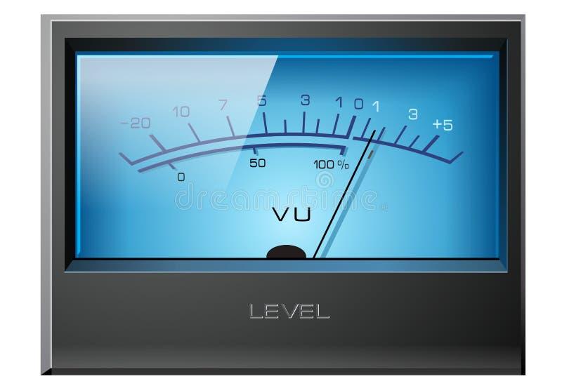 Azul análogo do medidor do VU ilustração stock