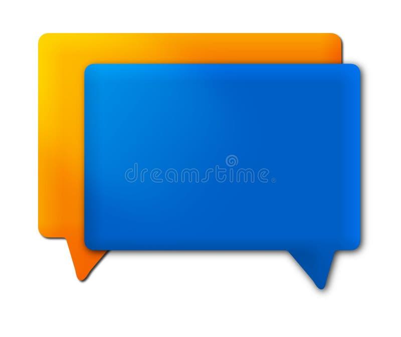 Azul anaranjado de la burbuja del discurso fotos de archivo