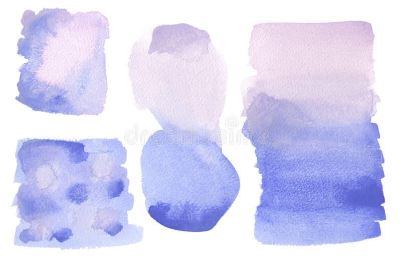 Azul artístico do fundo da lavagem da aquarela, lilás, roxo isolado ilustração stock