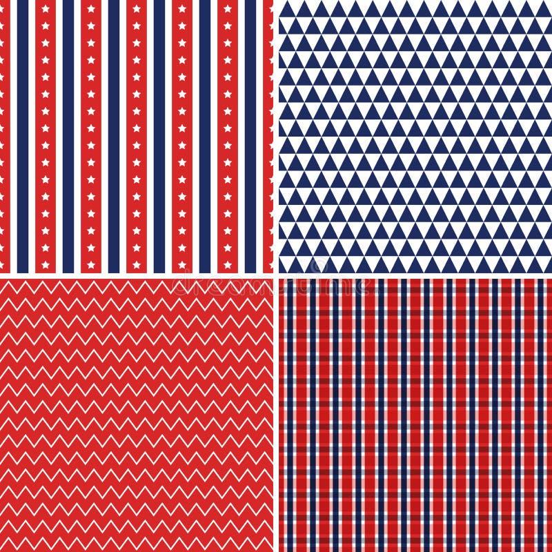 Azul blanco rojo de los fondos inconsútiles del Día de la Independencia stock de ilustración