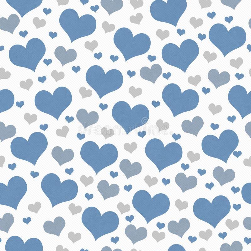 Azul, blanco y fondo de Gray Hearts Tile Pattern Repeat imagen de archivo