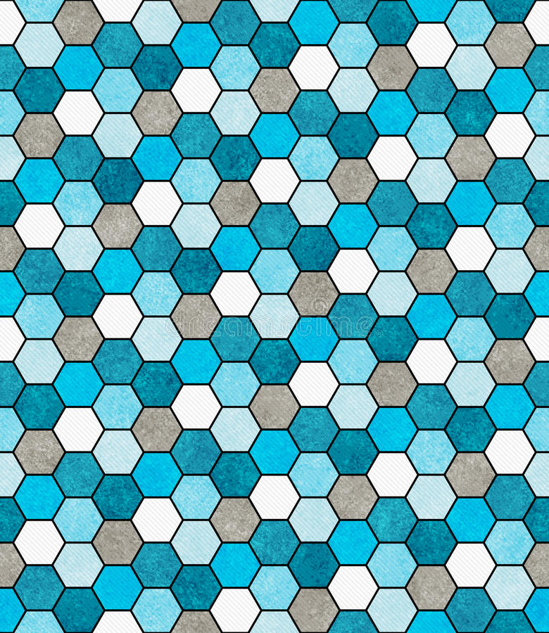 Azul, blanco y Ti del diseño de Gray Hexagon Mosaic Abstract Geometric fotos de archivo libres de regalías