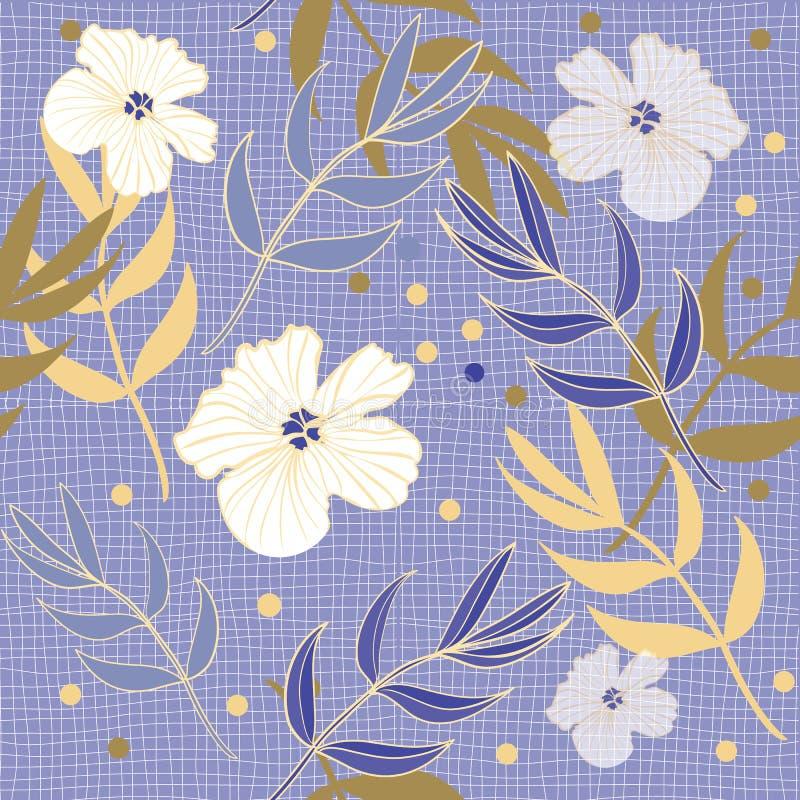 Azul bonito da pervinca e teste padrão floral da cópia da repetição do ouro no vetor fotografia de stock