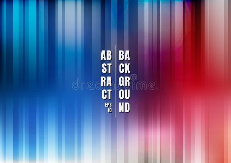 Azul borrado liso colorido listrado multicolorido do sumário e fundo vertical vermelho ilustração do vetor