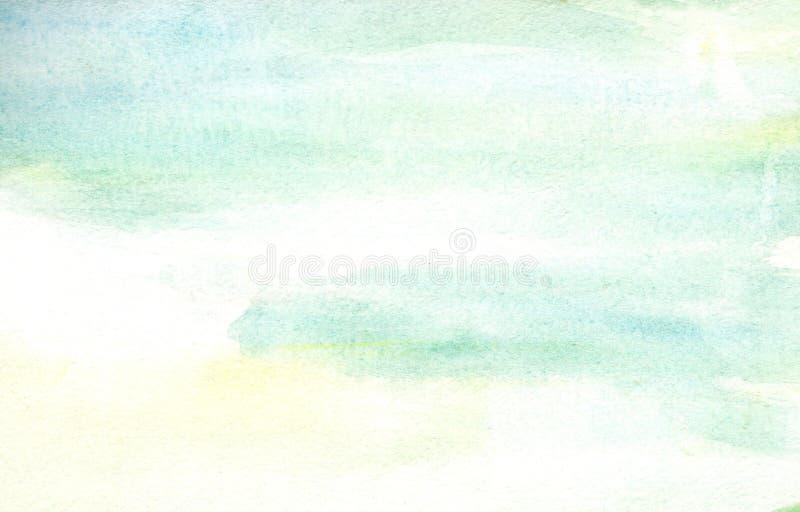 Azul-céu da luz da ilustração e claro feitos a mão - fundo amarelo da aquarela fotografia de stock royalty free