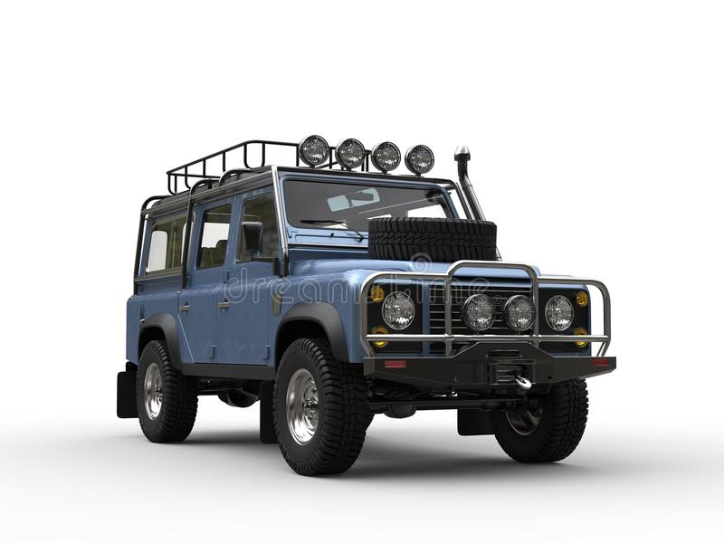 Azul-céu metálicos fora do carro moderno da estrada ilustração do vetor