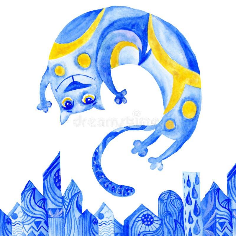 Azul Cat Illustration da aquarela ilustração do vetor