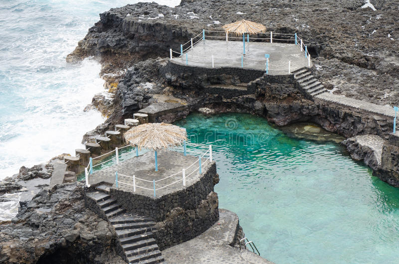 Azul charco El, голубой бассейн, остров Palma Ла, Испания стоковое изображение