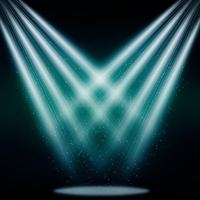 Azul chispeante del proyector de la etapa stock de ilustración