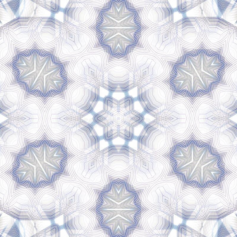 Azul cinzento do ornamento delicado regular da estrela e pastel branco centrado ilustração do vetor