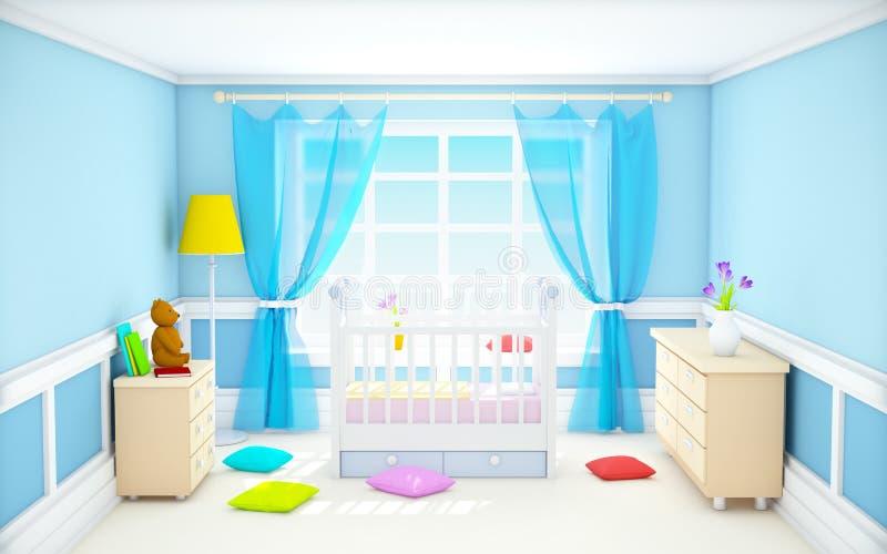 Azul clássico da sala do bebê ilustração stock