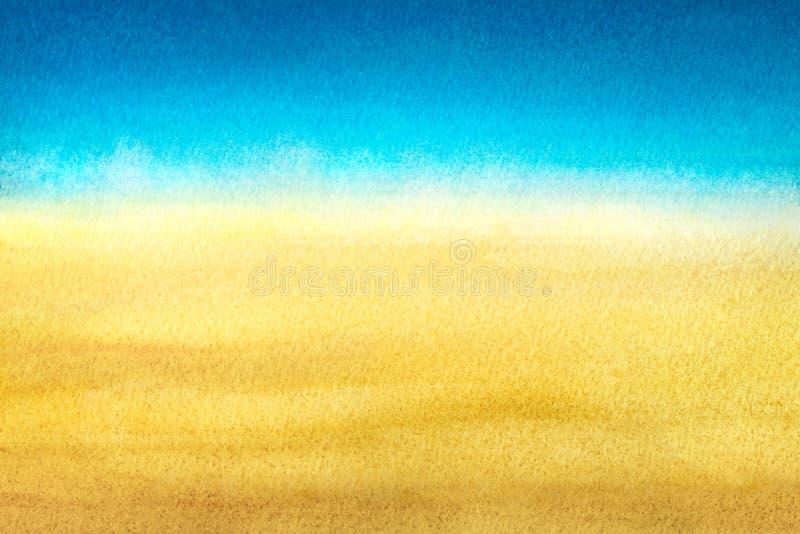 Azul claro para calentar la pendiente abstracta amarilla del mar y de la playa pintada en acuarela en fondo blanco limpio imagen de archivo libre de regalías