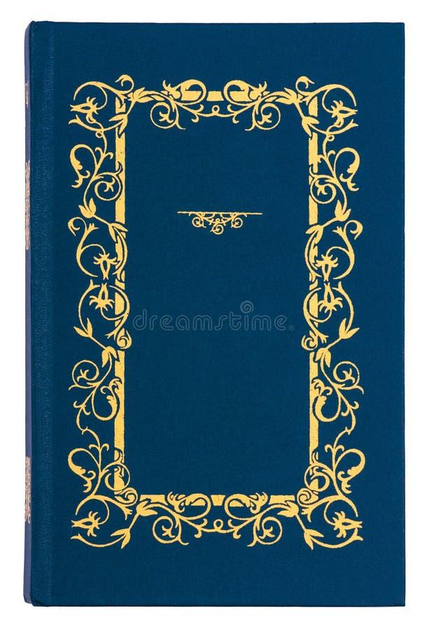 Azul com capa do livro do vintage do teste padrão do ouro ilustração do vetor