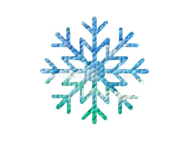 Azul com projeto verde do floco de neve ilustração stock