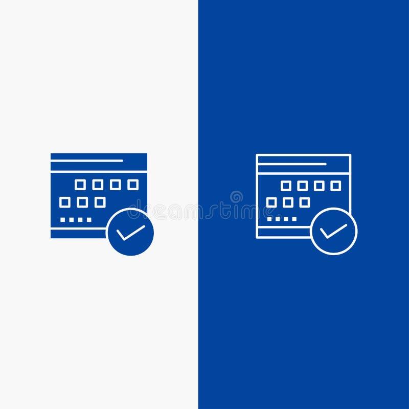 Azul contínuo da programação, o aprovado, do ícone azul da linha e do Glyph de bandeira do ícone contínuo do negócio, do calendár ilustração stock