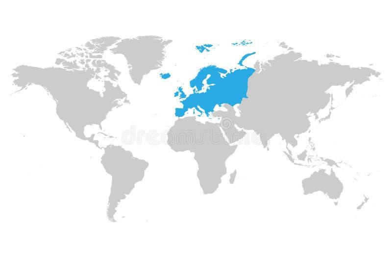 Azul continente de Europa marcado en la silueta gris del mapa del mundo Ejemplo plano simple del vector stock de ilustración